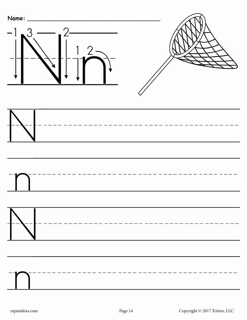 Letter N Worksheets for Kindergarten Inspirational Free Printable Letter N Handwriting Worksheet – Supplyme