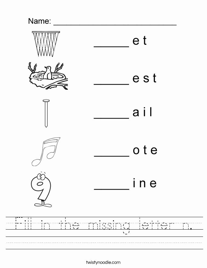 Letter N Worksheets for Kindergarten Luxury Fill In the Missing Letter N Worksheet Twisty Noodle