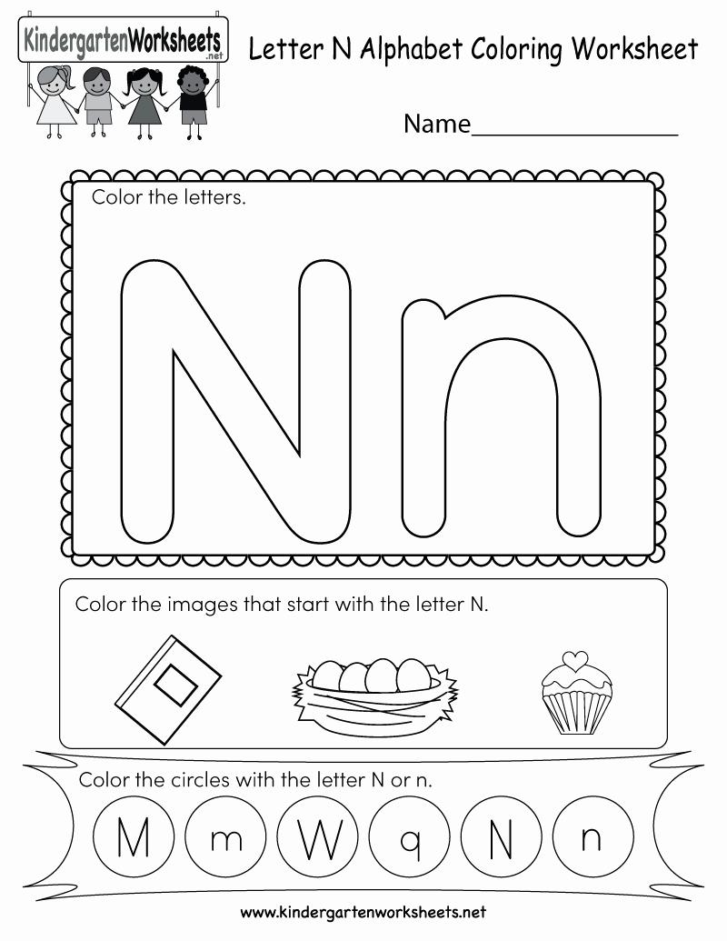 Letter N Worksheets for Kindergarten New Letter N Coloring Worksheet Free Kindergarten English