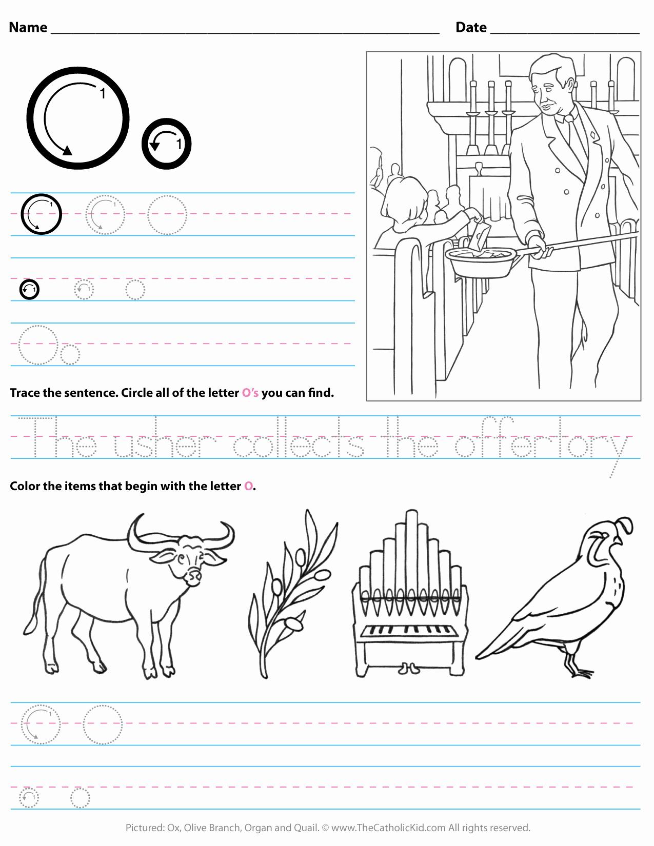 Letter O Worksheet for Kindergarten Awesome Catholic Alphabet Letter O Worksheet Preschool Kindergarten