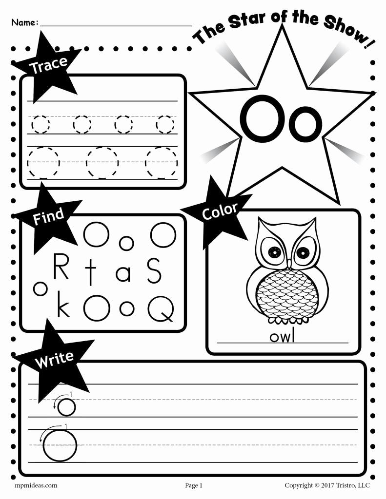 Letter O Worksheet for Kindergarten Awesome Letter O Worksheet Tracing Coloring Writing & More