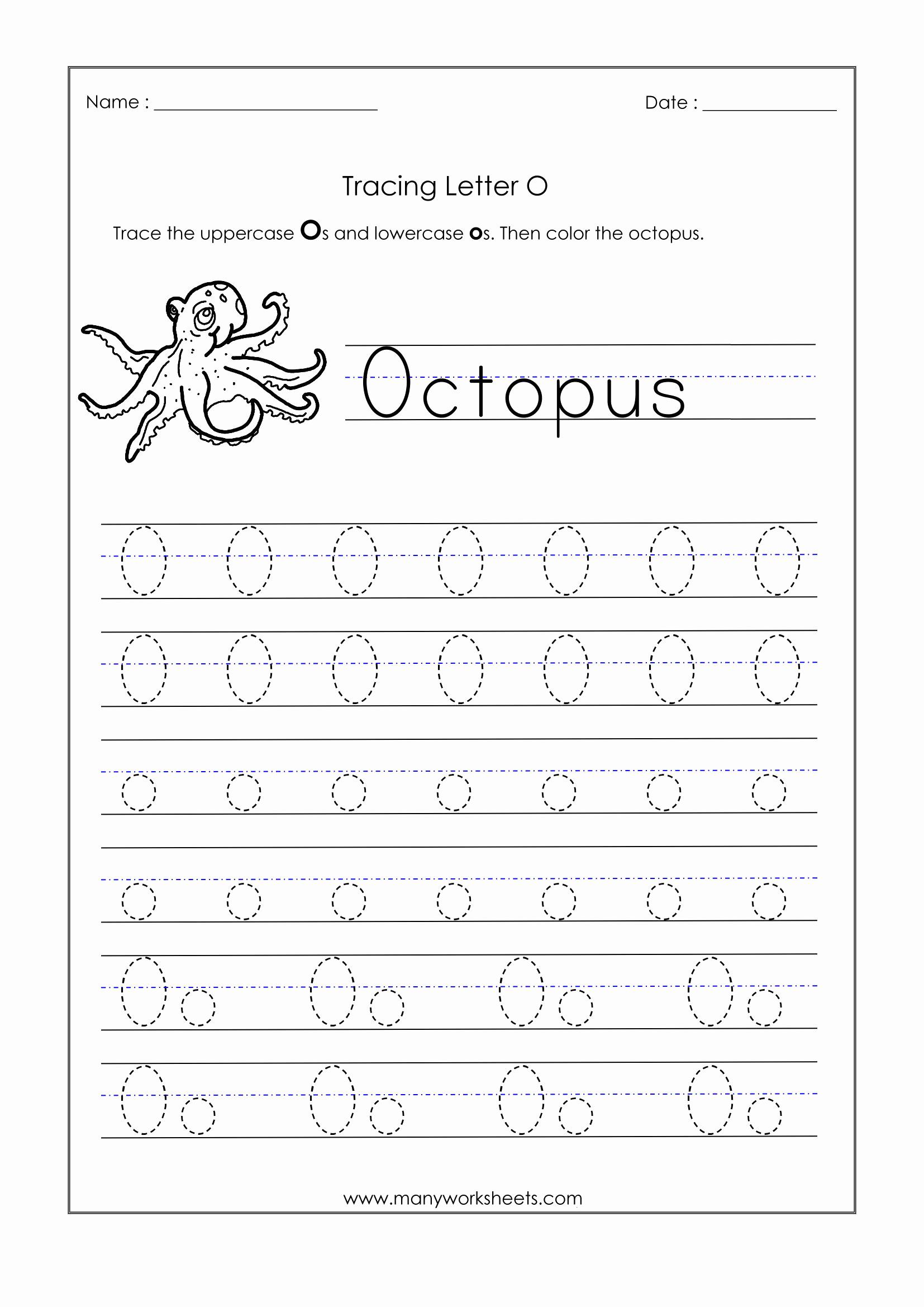 Letter O Worksheet for Kindergarten Luxury Letter O Tracing Worksheets Kindergarten