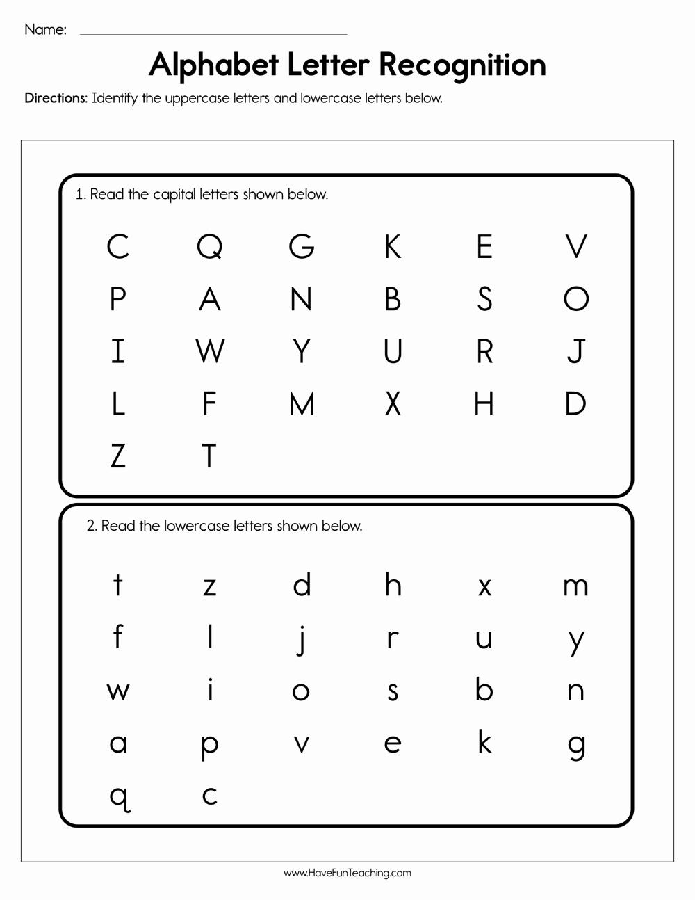 Letter Recognition Worksheets for Kindergarten Luxury Alphabet Letter Recognition assessment
