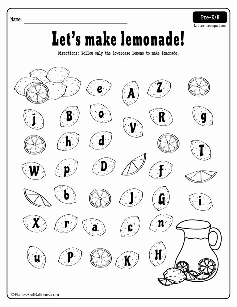 Letter Recognition Worksheets for Kindergarten New Summer Lemonade Fun Letter Recognition Worksheets Pdf Set