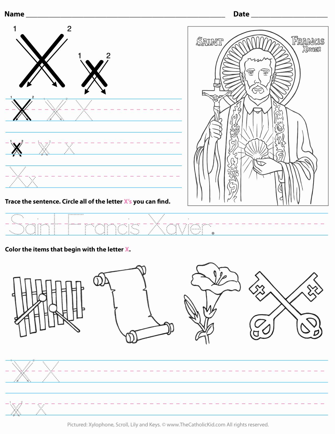 Letter X Worksheets for Kindergarten Best Of Catholic Alphabet Letter X Worksheet Preschool