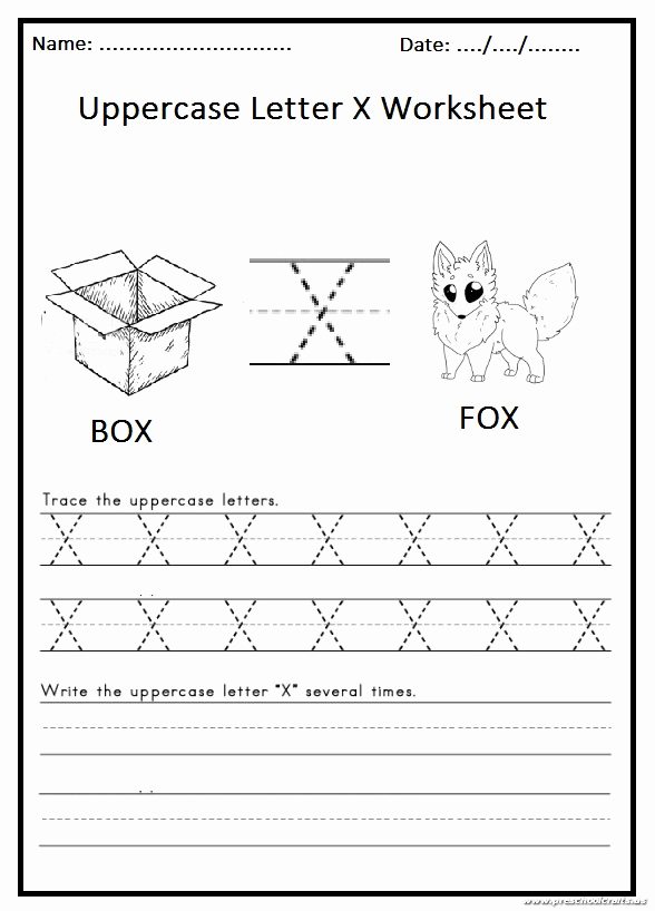 Letter X Worksheets for Kindergarten Unique Write the Uppercase Letter X Worksheet for 1st Grade