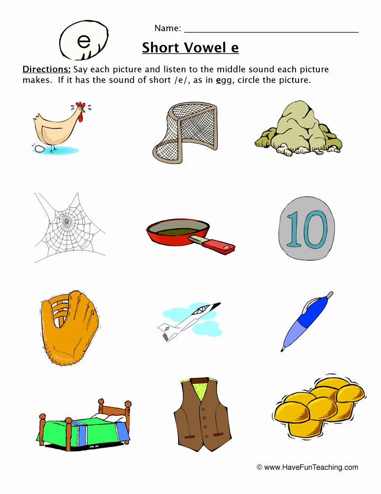 Long E Short E Worksheets Lovely Vowel Worksheets Page 6 Of 11 Have Fun Teaching