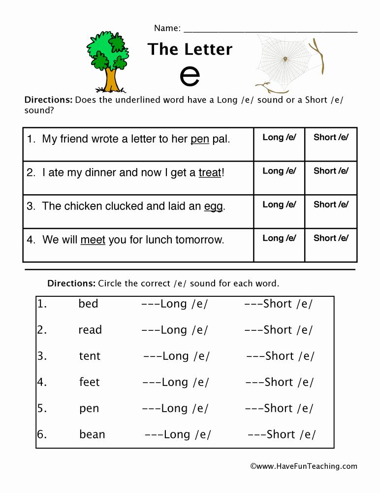Long E Short E Worksheets Unique Short and Long Vowel E Worksheet