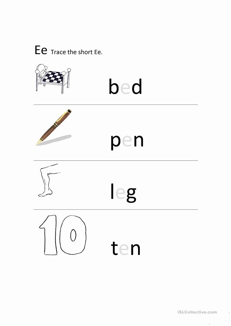 Long E Short E Worksheets Unique Short E sound Worksheet Free Esl Printable Worksheets