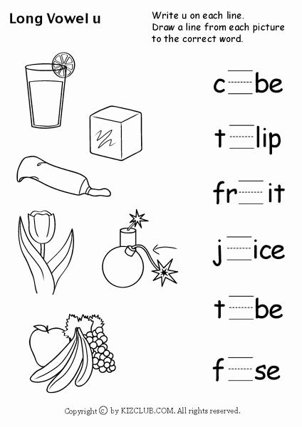 """Long U sound Worksheet Best Of Long Vowel """"u"""" Worksheet for Kindergarten 1st Grade"""