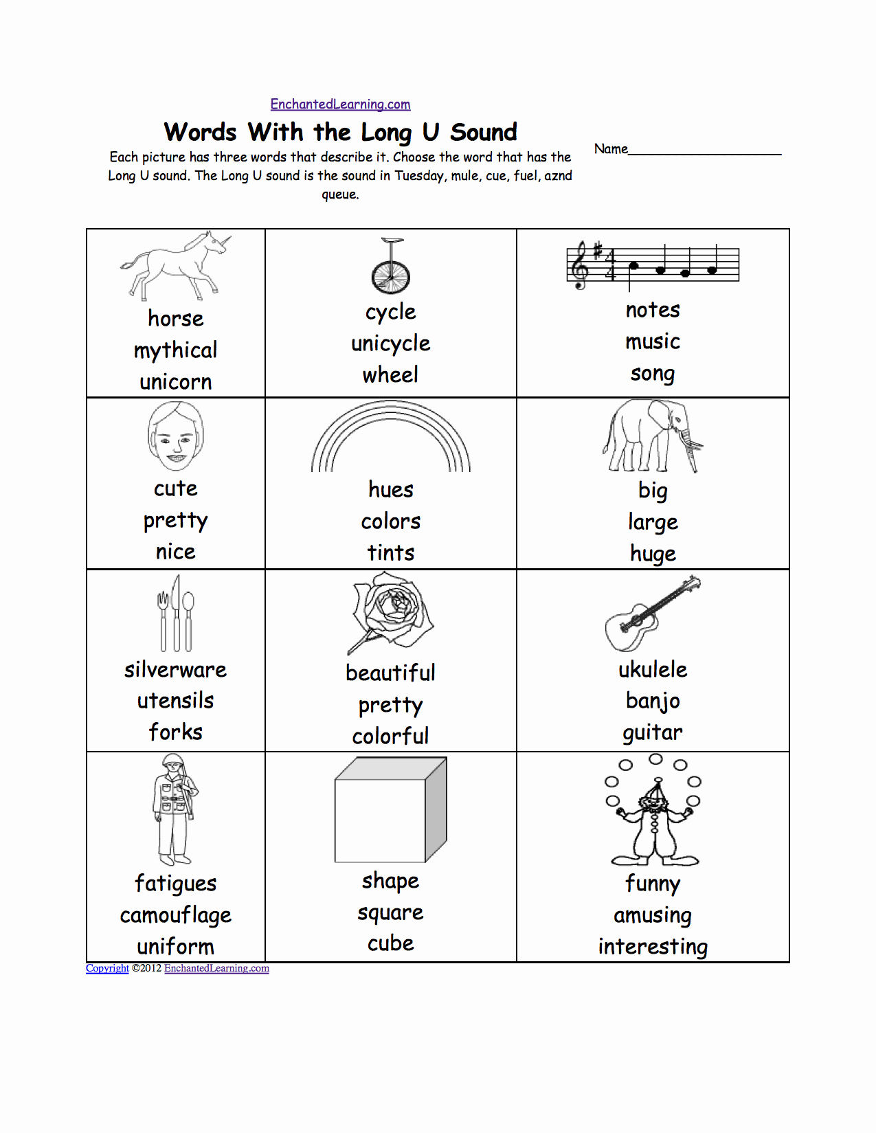 Long U sound Worksheet Elegant Long U Alphabet Activities at Enchantedlearning