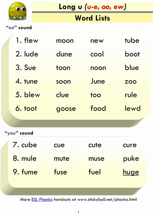Long U sound Worksheet Unique Long U Word List and Sentences