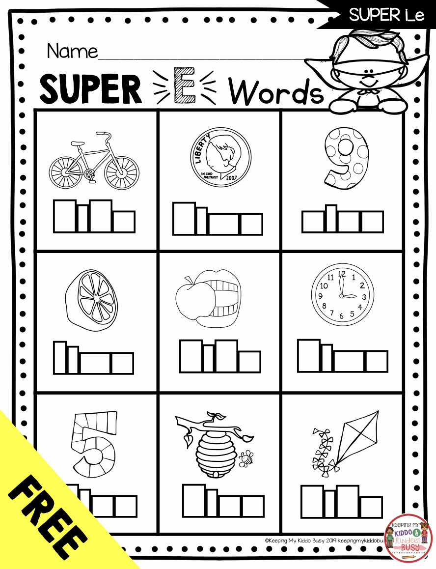 Long Vowel Silent E Worksheet Inspirational Long Vowels Super E Phonics Unit Freebie — Keeping My