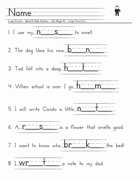 Long Vowel Silent E Worksheet Luxury Long Vowels Silent E Rule Practice Worksheet for 1st