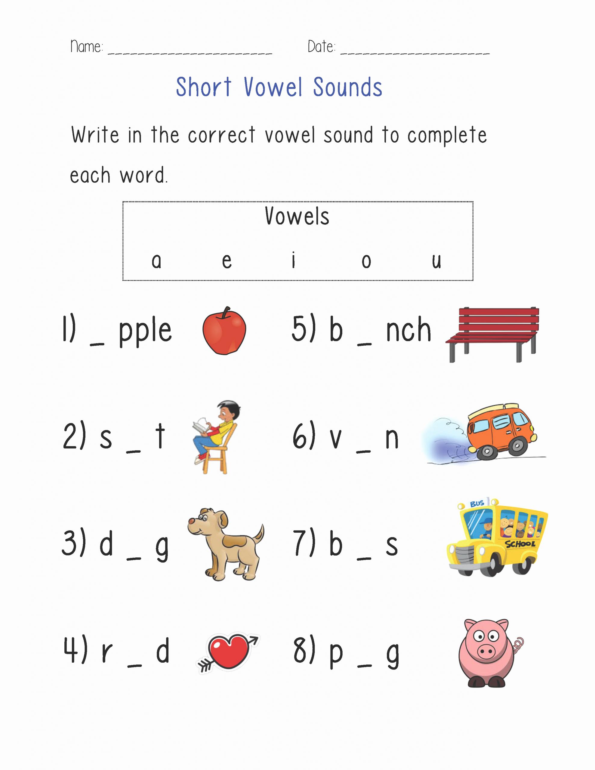 Long Vowel Worksheets Pdf Best Of Short Vowel sounds Worksheet