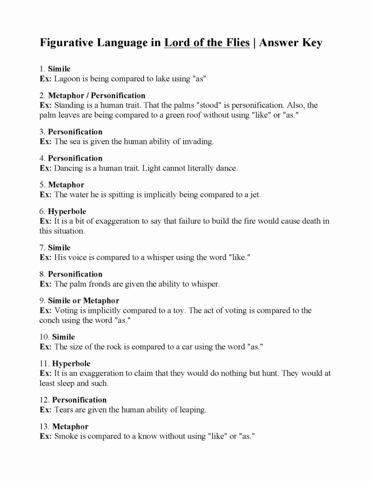 Lord Of the Flies Worksheets Elegant Figurative Language Worksheet Lord the Flies Answers