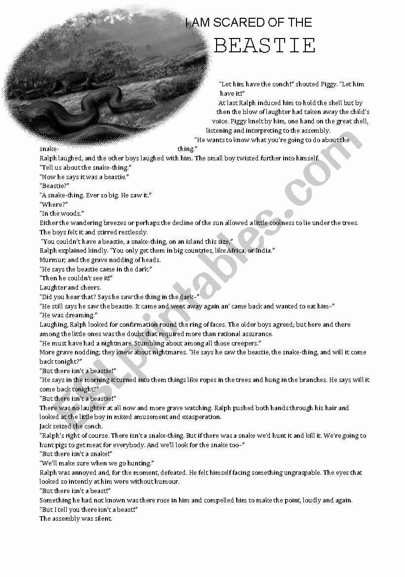 Lord Of the Flies Worksheets Fresh Lord Of the Flies Esl Worksheet by Fazmina