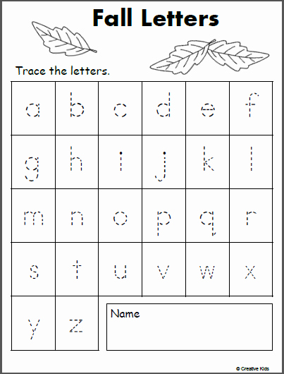Lowercase Alphabet Tracing Worksheets Elegant Free Lowercase Letter Tracing Fall