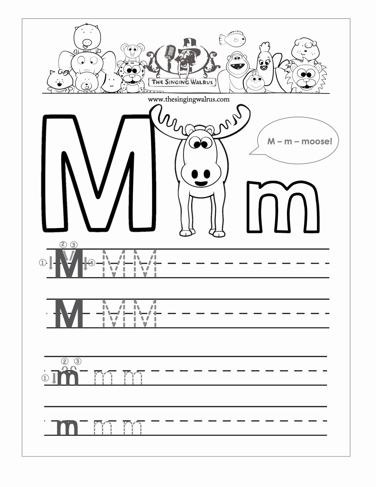 M Worksheets Preschool Beautiful Tracing Letter M Worksheets Kindergarten