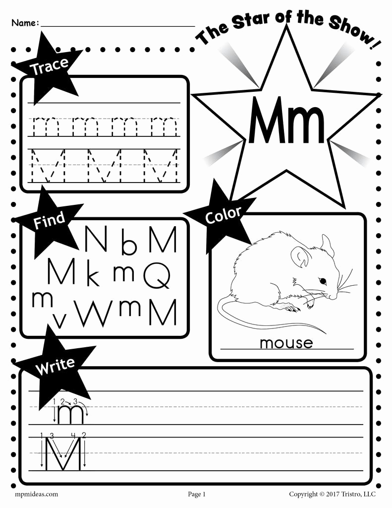 M Worksheets Preschool Best Of Letter M Worksheet Tracing Coloring Writing & More