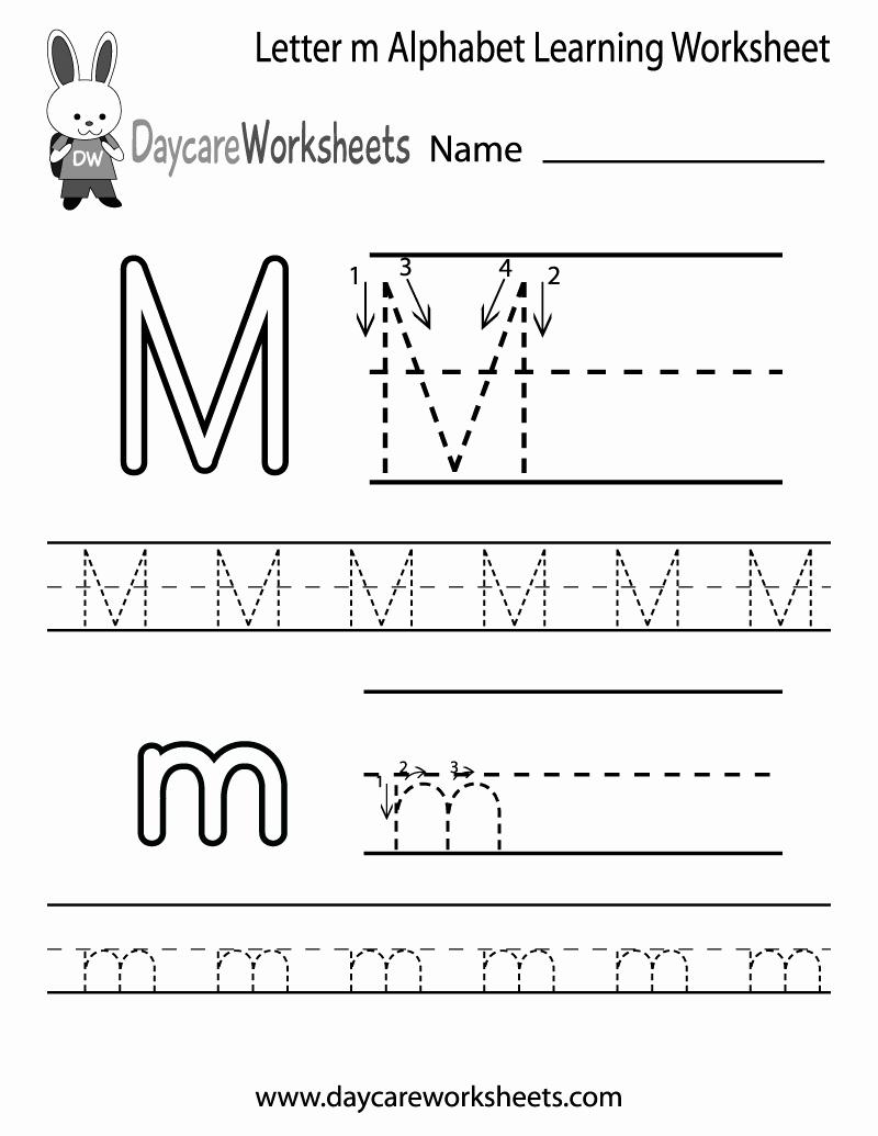M Worksheets Preschool Luxury Free Letter M Alphabet Learning Worksheet for Preschool