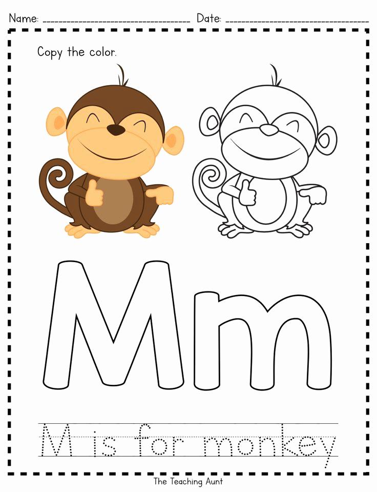 M Worksheets Preschool Unique M is for Monkey Paper Pasting Activity