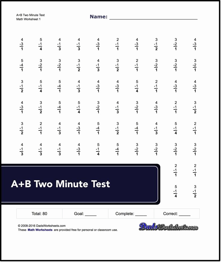 Mad Minute Subtraction Worksheets Awesome Two Minute Versions Of the Spaceship Math Subtraction