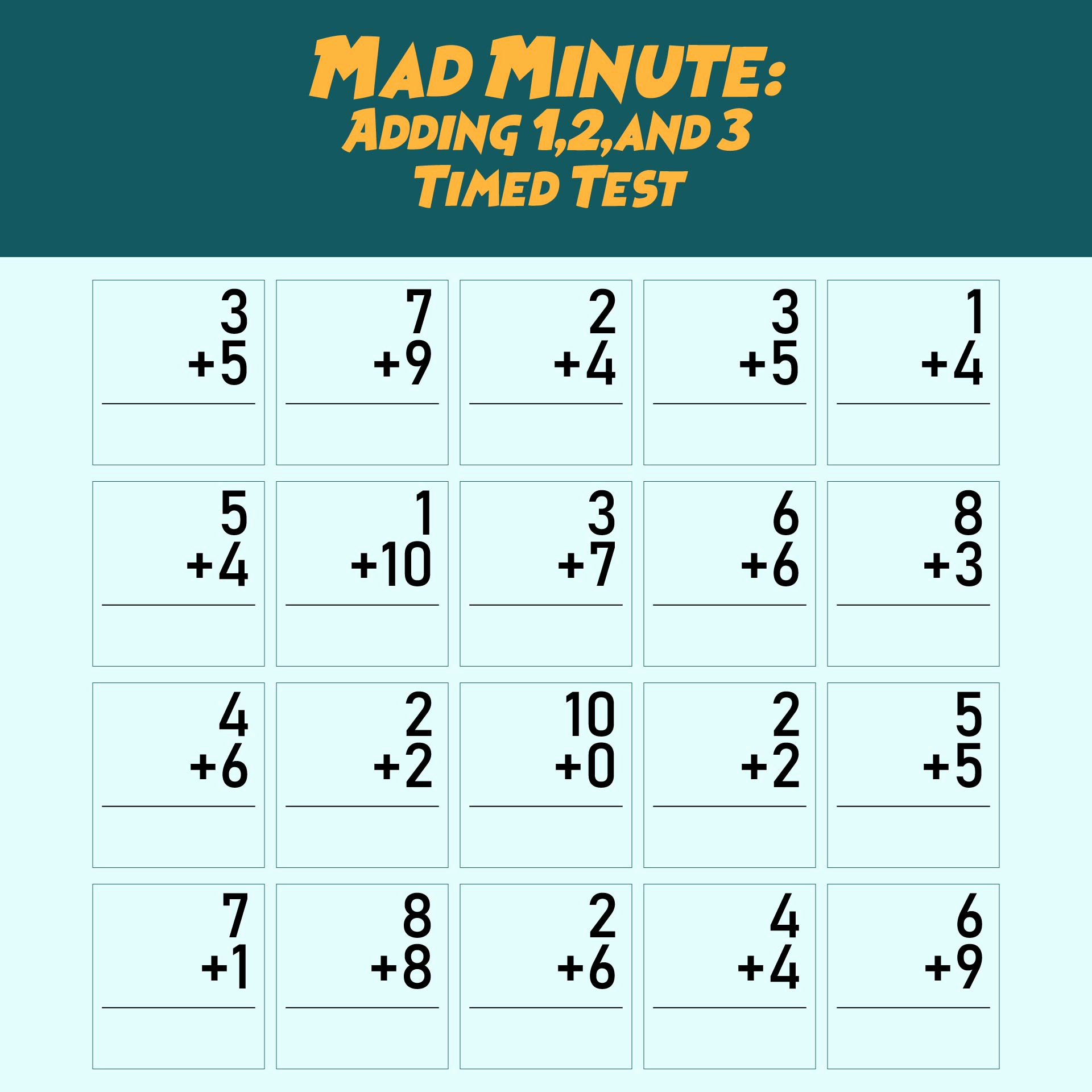 Mad Minute Subtraction Worksheets Elegant 7 Best Of Printable Math Addition Drill 13 Mad