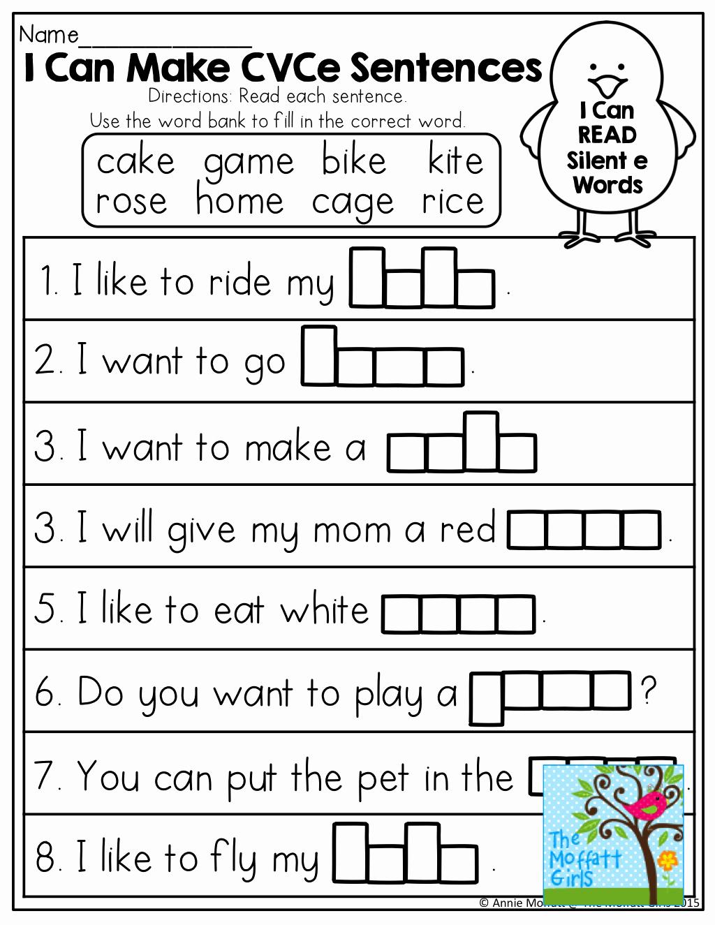 Magic E Worksheets Free Elegant 1st Grade Silent E Worksheet