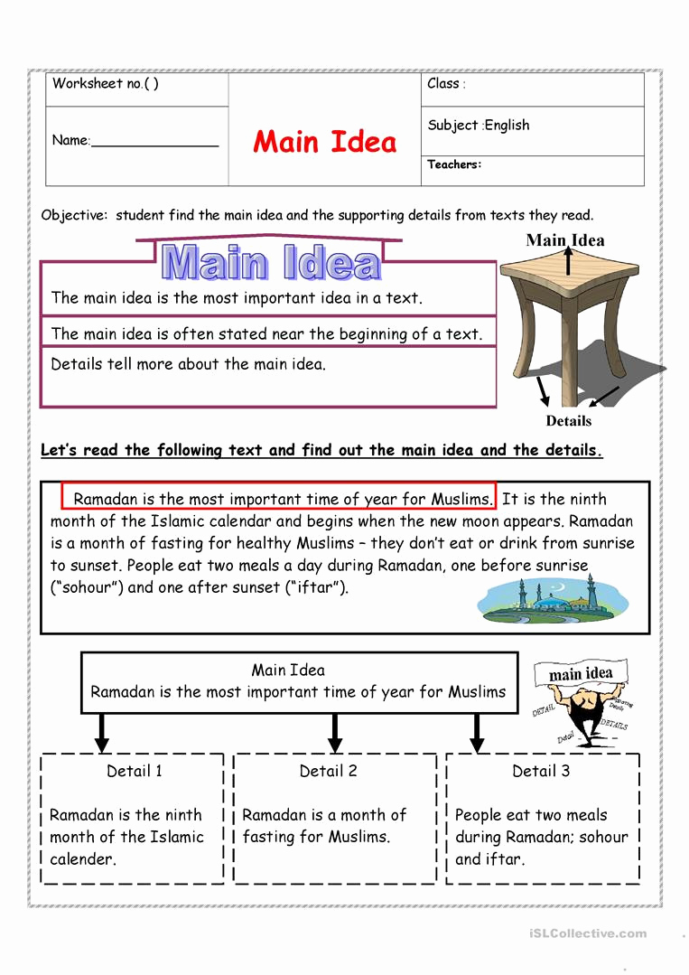 Main Idea and Details Worksheet Best Of 30 Main Idea Details Worksheet