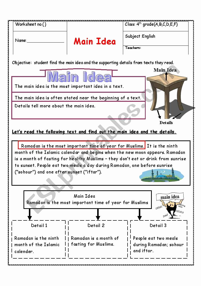 Main Idea and Details Worksheet Elegant Main Idea Esl Worksheet by Manar K