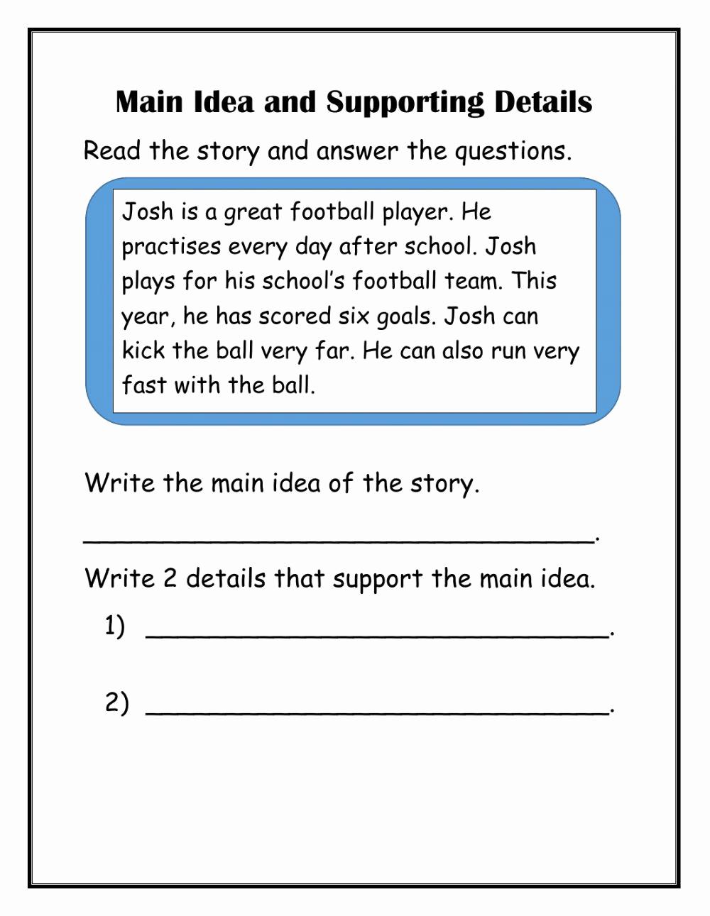 Main Idea and Details Worksheet Fresh 30 Main Idea Details Worksheet