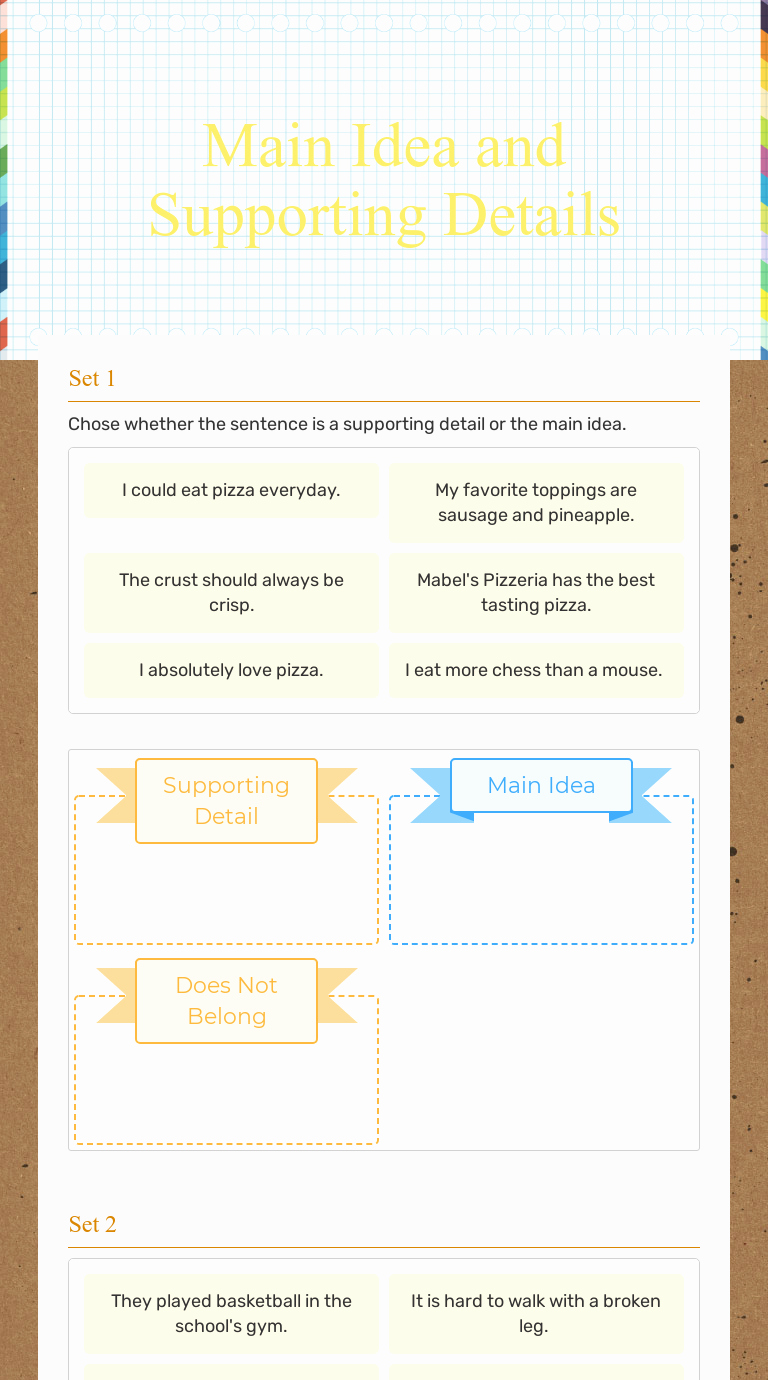 Main Idea and Details Worksheet Fresh Main Idea and Supporting Details