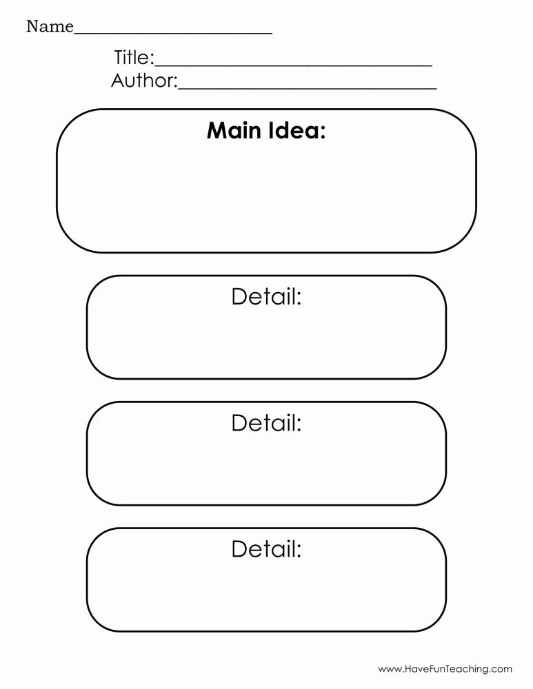 Main Idea and Details Worksheet Inspirational Main Idea and Three Details Graphic organizer Worksheet
