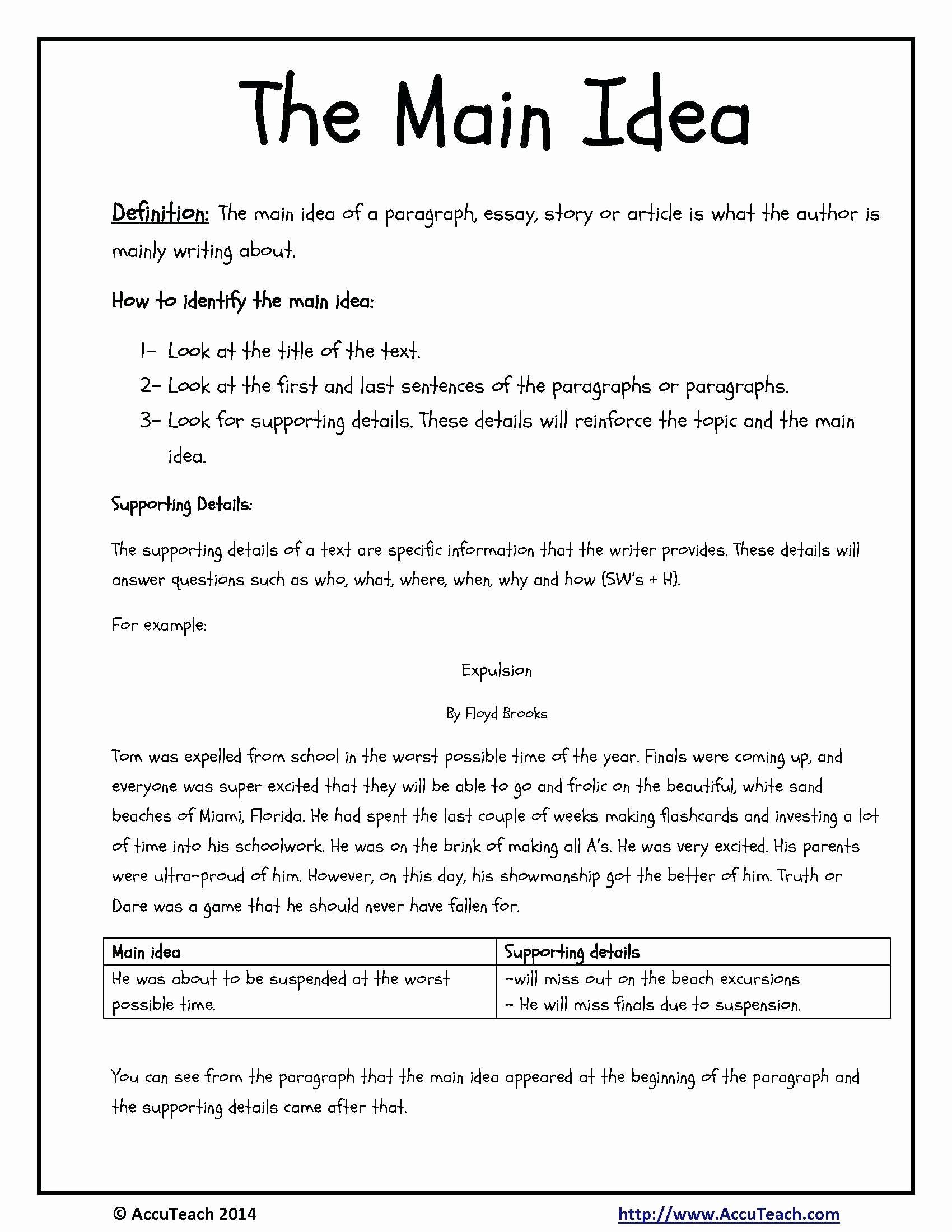 Main Idea and Details Worksheet Luxury 10 attractive Main Idea and Details Worksheets 3rd Grade 2020