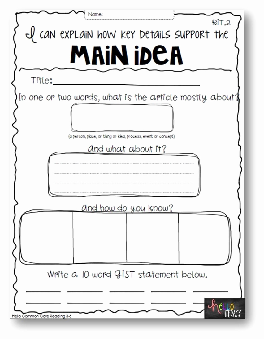 Main Idea and Details Worksheet New 10 attractive Main Idea and Details Worksheets 2020