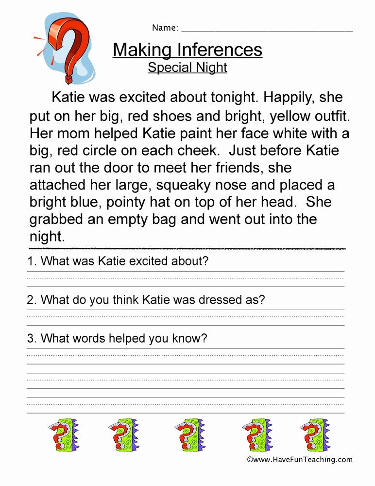 Making Inferences Worksheet 4th Grade Awesome Making Inferences Special Night Worksheet • Have Fun Teaching