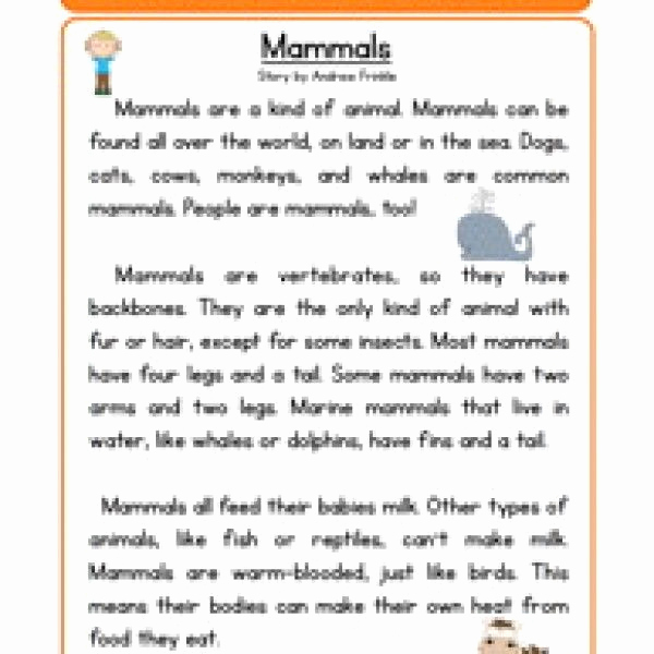 Mammals Worksheets for 2nd Grade Awesome Mammals Life Science Reading Prehension Worksheet