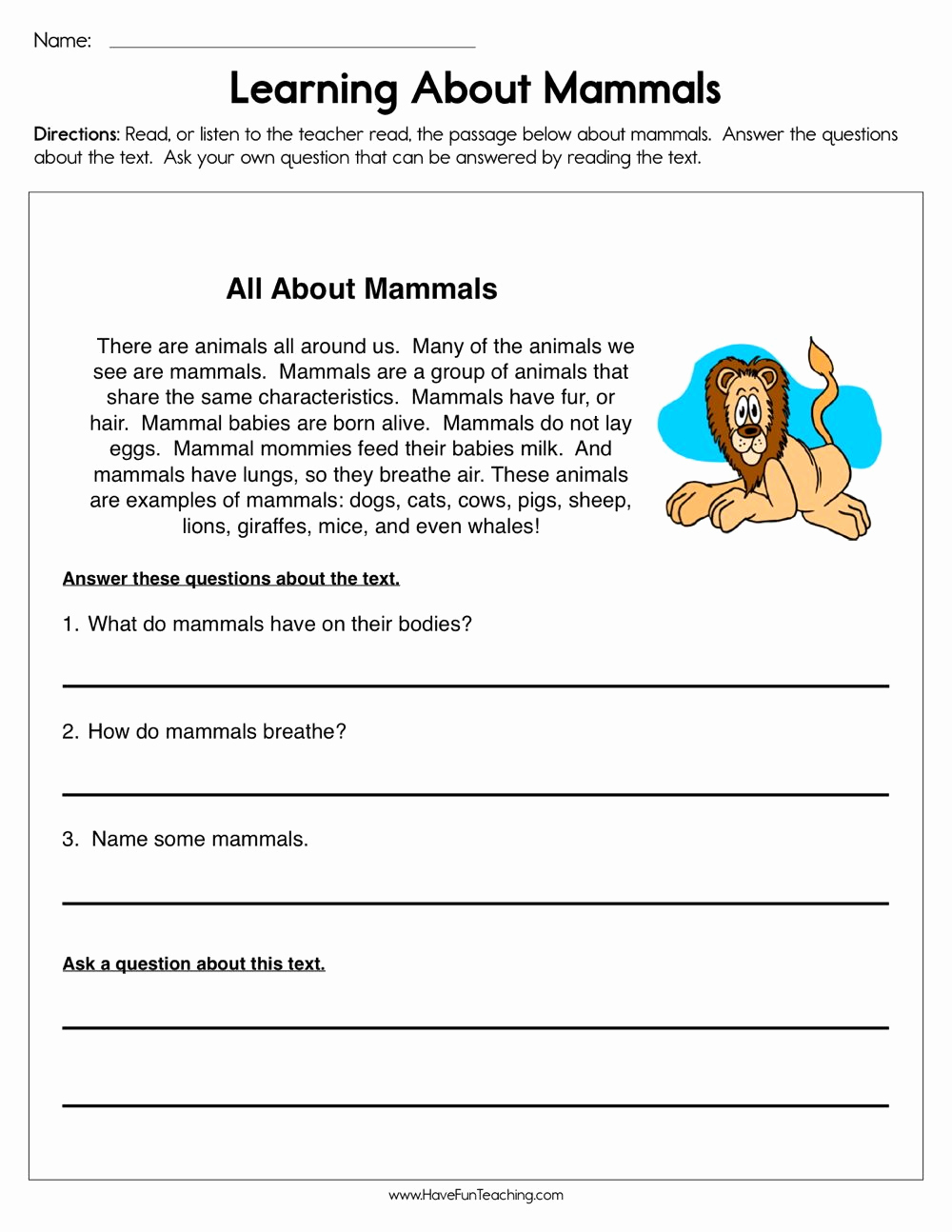 Mammals Worksheets for 2nd Grade Unique Pin On Reading Prehension
