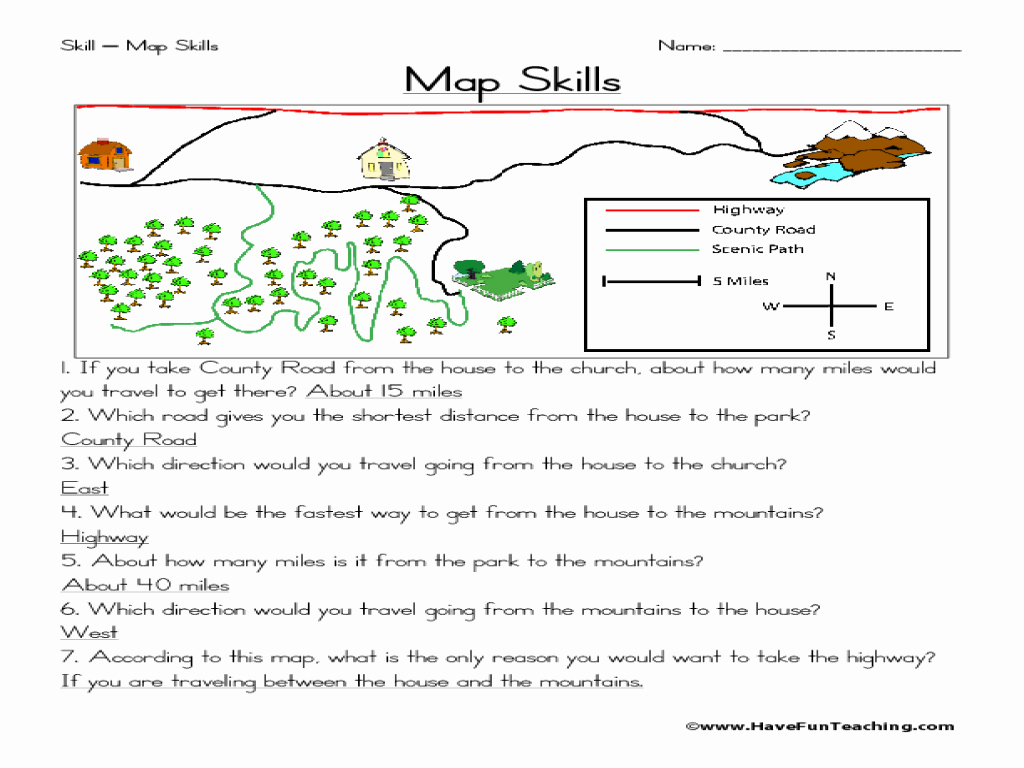 Map Scale Worksheet 4th Grade Awesome 2nd Grade Map Skills Worksheets
