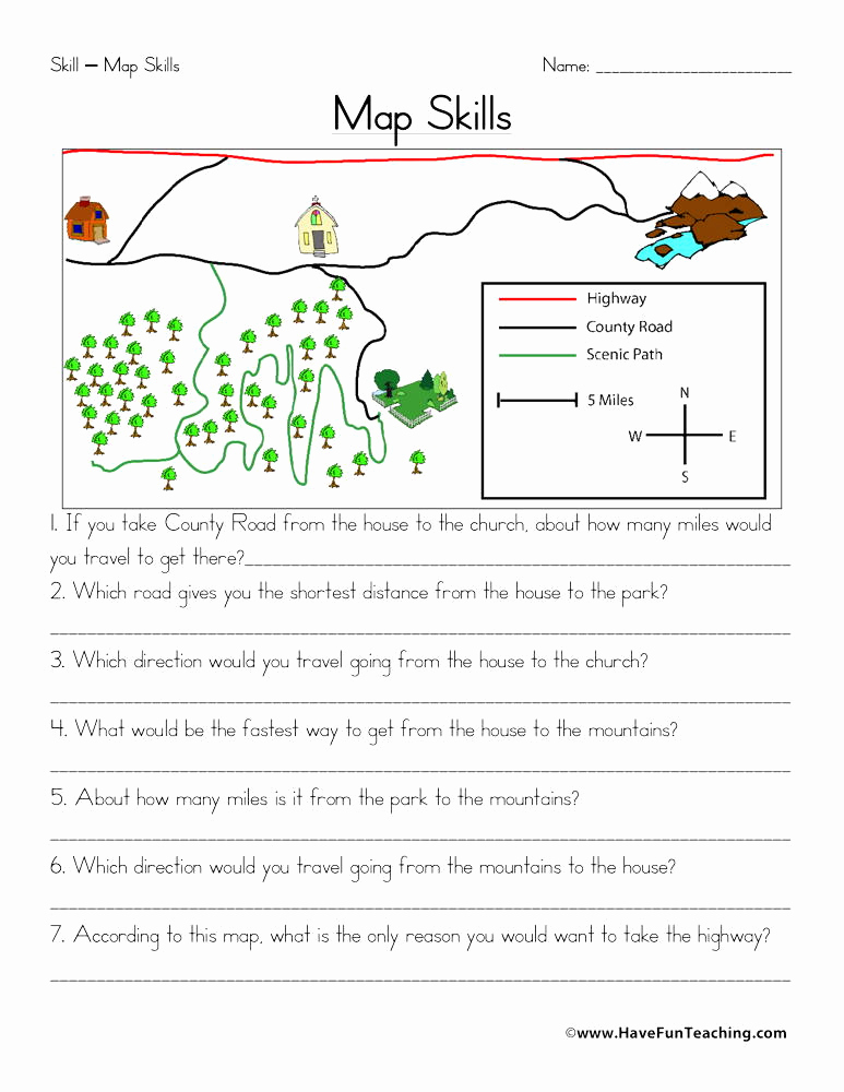 Map Scale Worksheet 4th Grade Inspirational Maps Worksheets