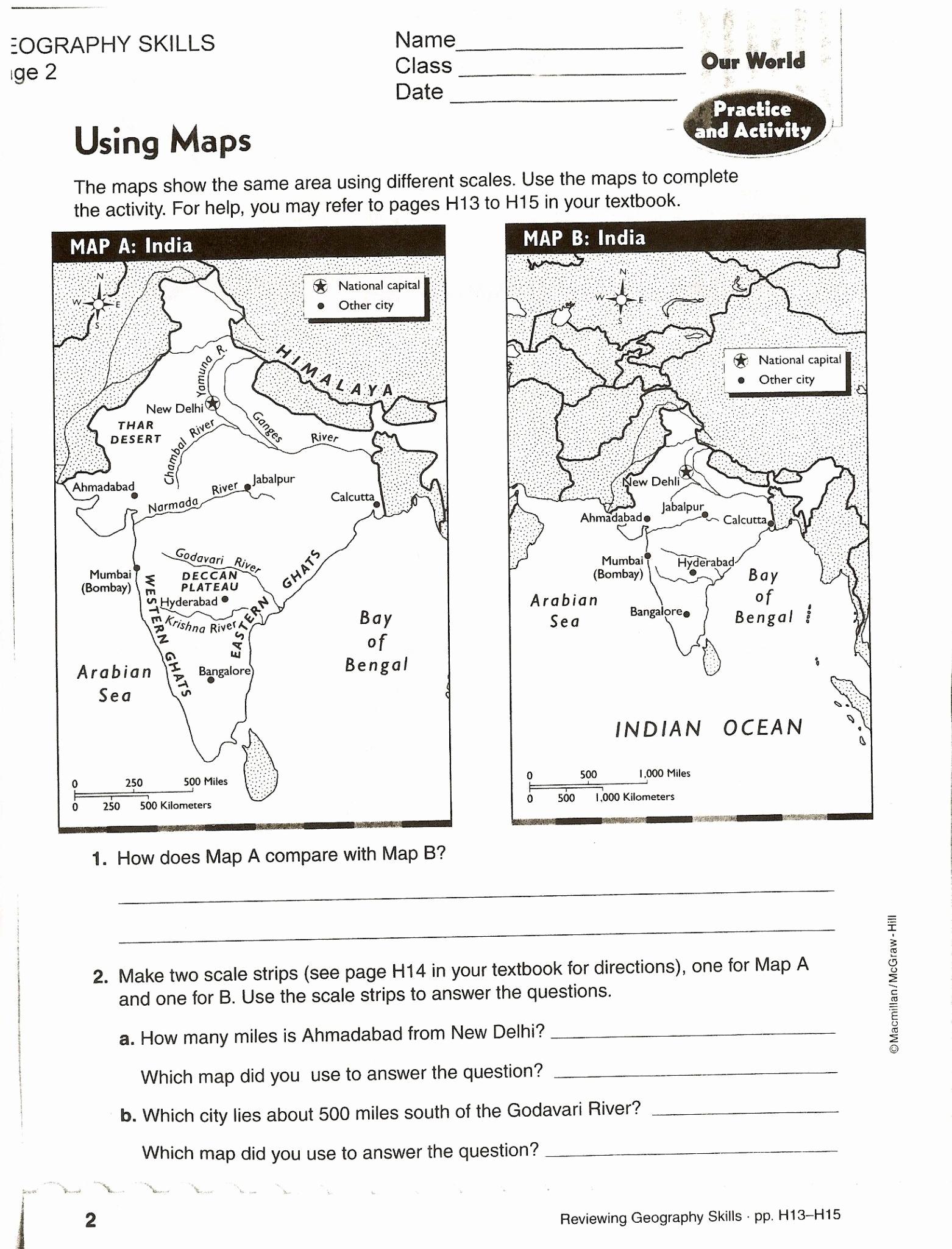 Map Skills Worksheets Answers Elegant topographic Map Reading Worksheet Answer Key