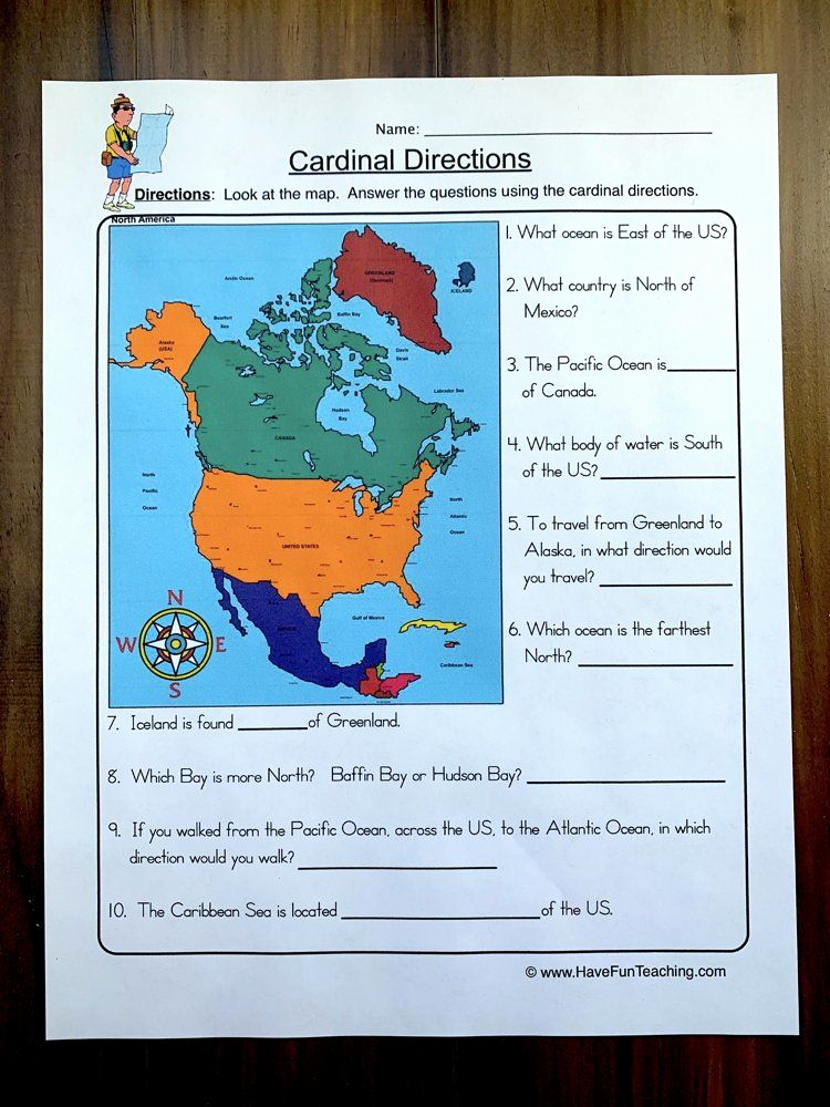 Map Skills Worksheets Answers Fresh Cardinal Directions Worksheet In 2020