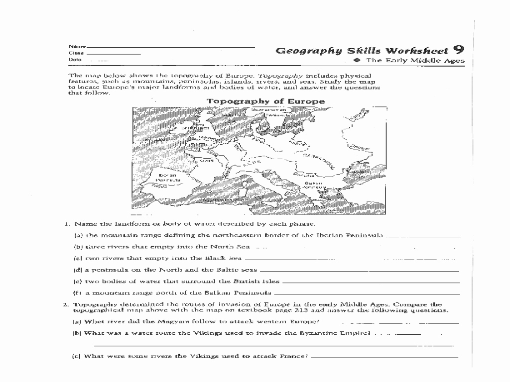 Map Skills Worksheets Answers Fresh Geography Skills Worksheet the Early Middle Ages