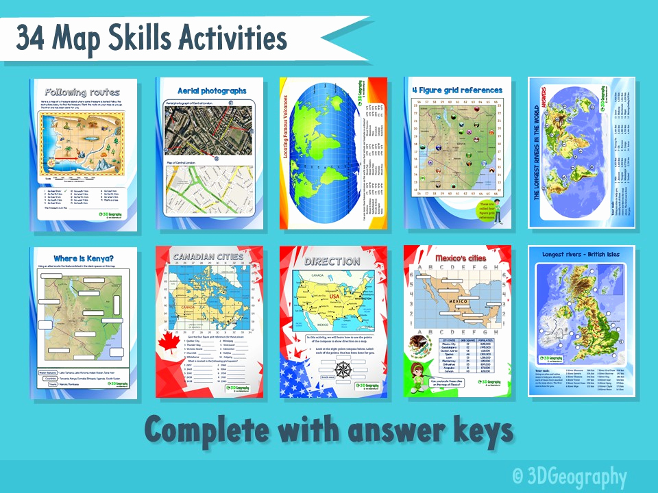 Map Skills Worksheets Answers New 34 Map Skills Activities Plete with Answers