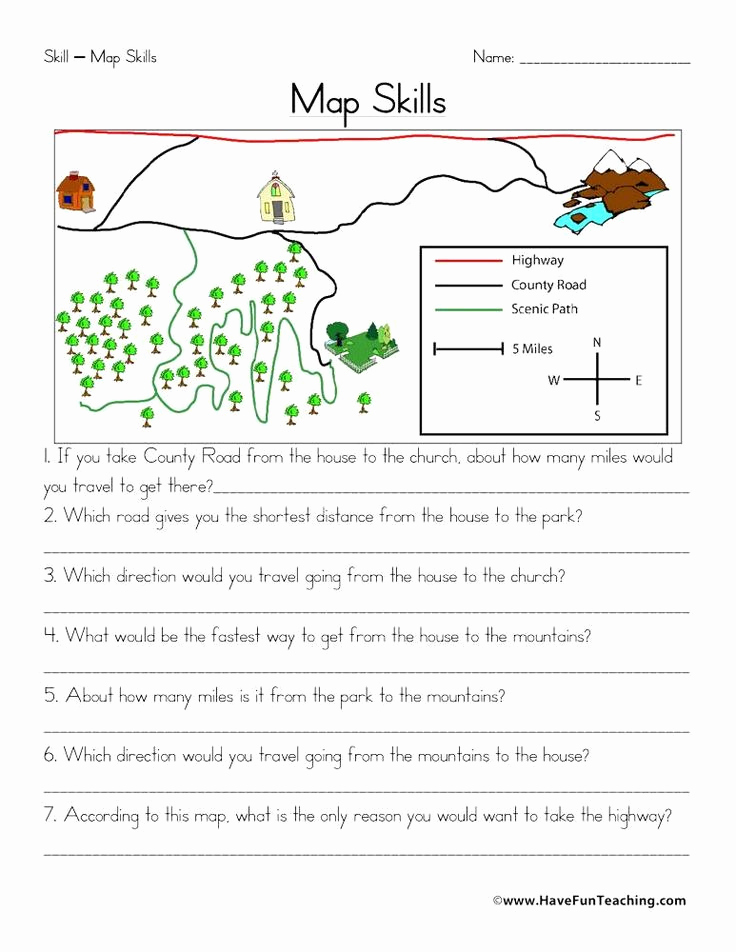 Map Skills Worksheets Answers Unique Second Grade Map Skills Worksheets Map Skills Worksheet In