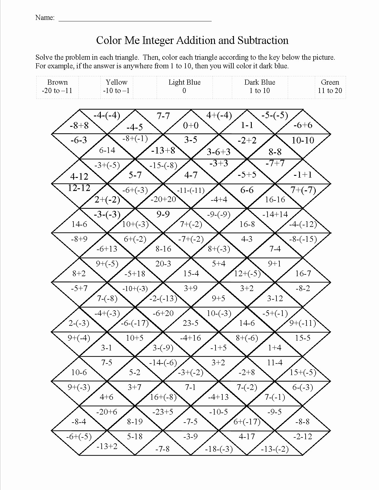 Math Coloring Worksheets 7th Grade Beautiful Free Printable 7th Grade Integer Worksheets – Learning How