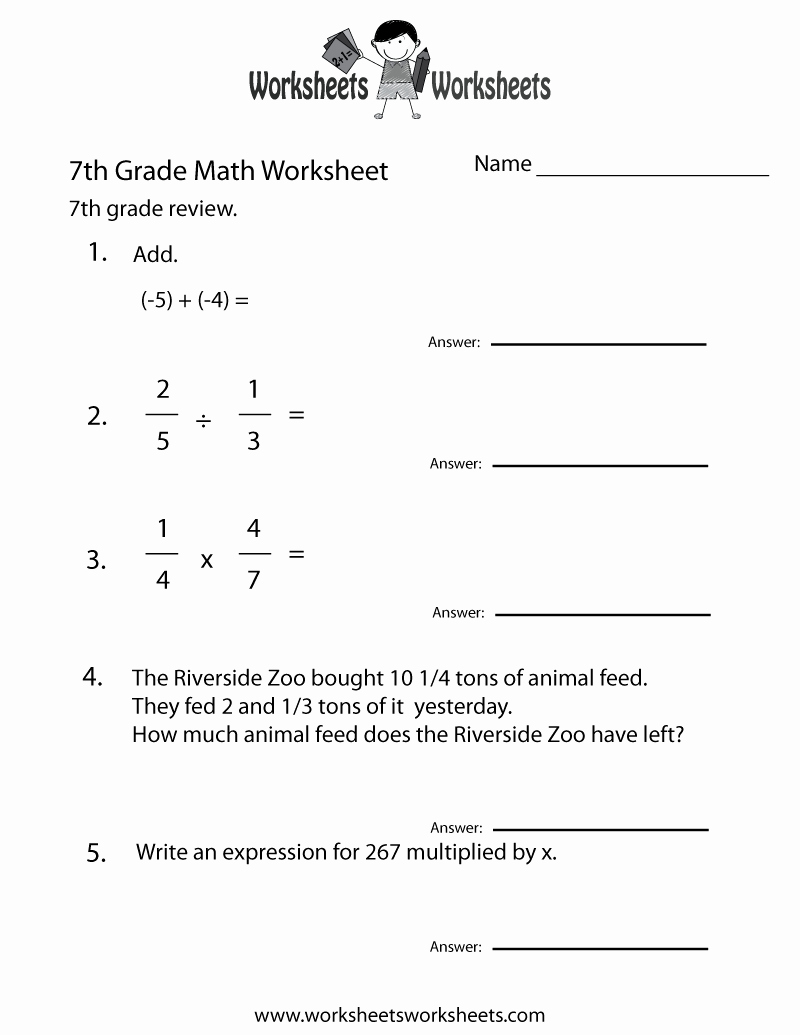 Math Coloring Worksheets 7th Grade Elegant Seventh Grade Math Practice Worksheet Free Printable