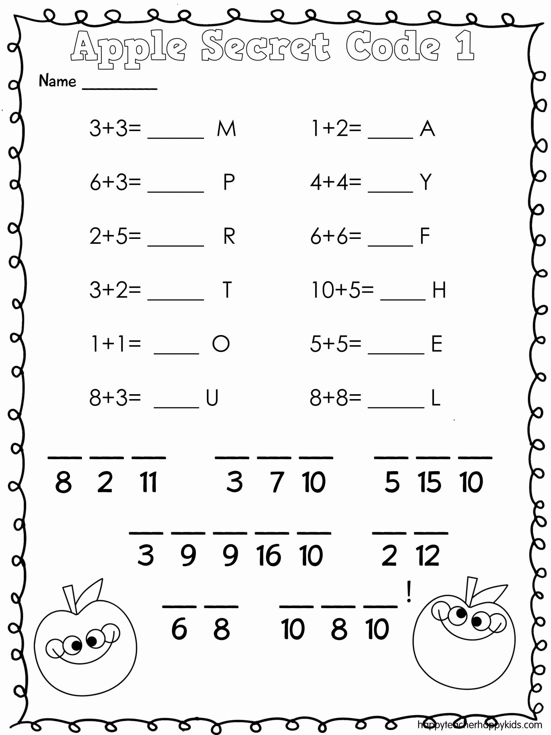 Math Secret Code Worksheets Elegant Apple Math and Literacy Fun