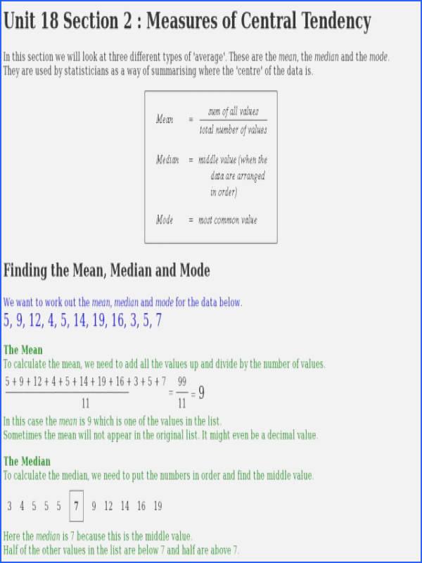 Mean Median Mode Worksheets Kuta Best Of Measures Central Tendency Worksheet